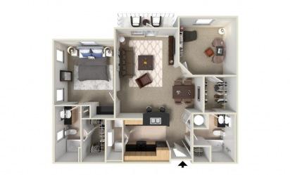 Basil 2 bedroom 2 bath 1249 square feet