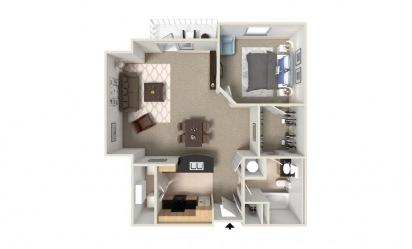 1 bedroom 1 bath 982 sq.ft.
