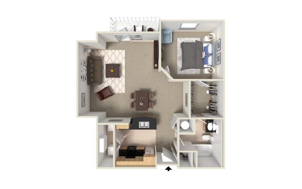 1 bedroom 1 bath 982 sq.ft.